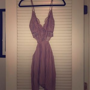 Nude Pink Romper Lace Top